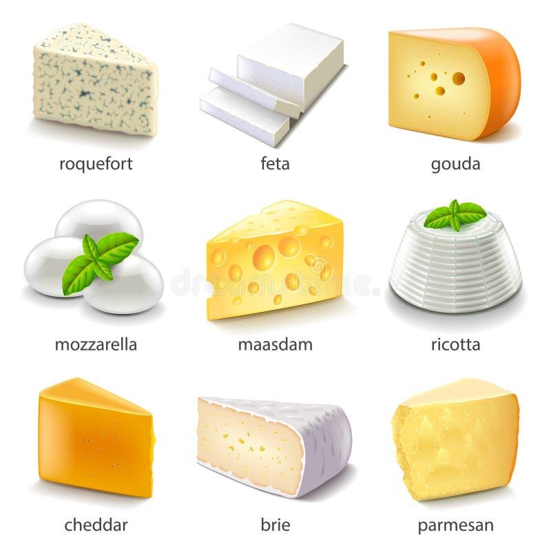 Tipi insieme del formaggio di vettore delle icone illustrazione vettoriale