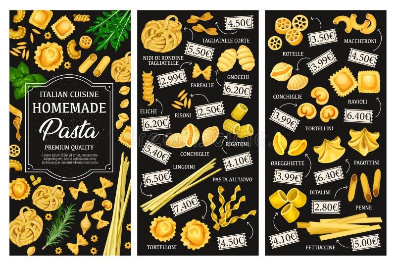 Tipi menu, cucina italiana della pasta royalty illustrazione gratis
