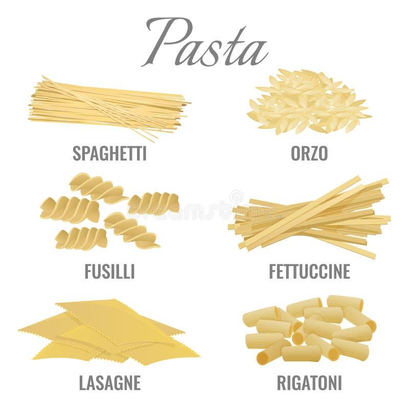 Tipi spaghetti della pasta ed illustrazione stabilita di vettore di orso illustrazione vettoriale