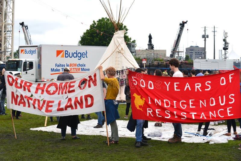 Tipi sur la colline du Parlement pour la célébration de jour de Canada photographie stock libre de droits