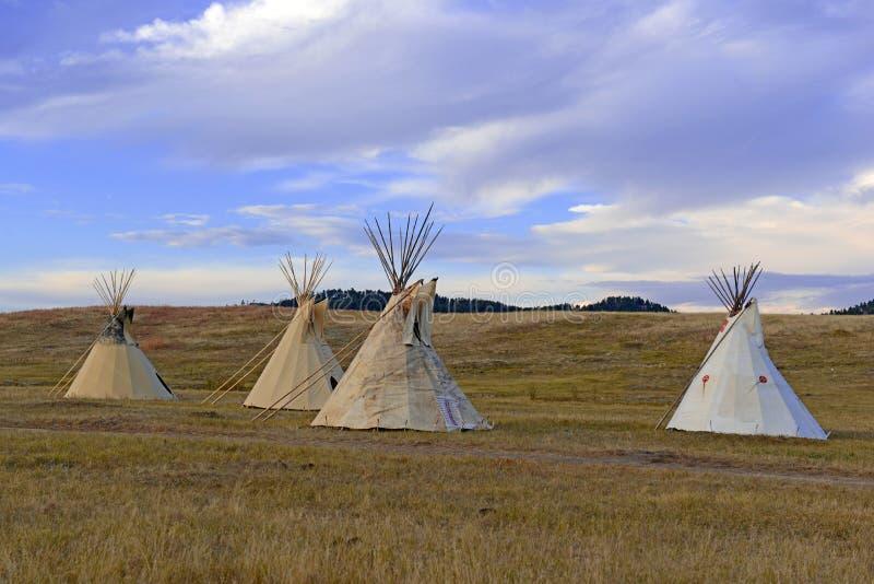 Tipi (Tipi) wie von den amerikanischen Ureinwohnern in den Großen Ebenen und im amerikanischen Westen verwendet stockbilder