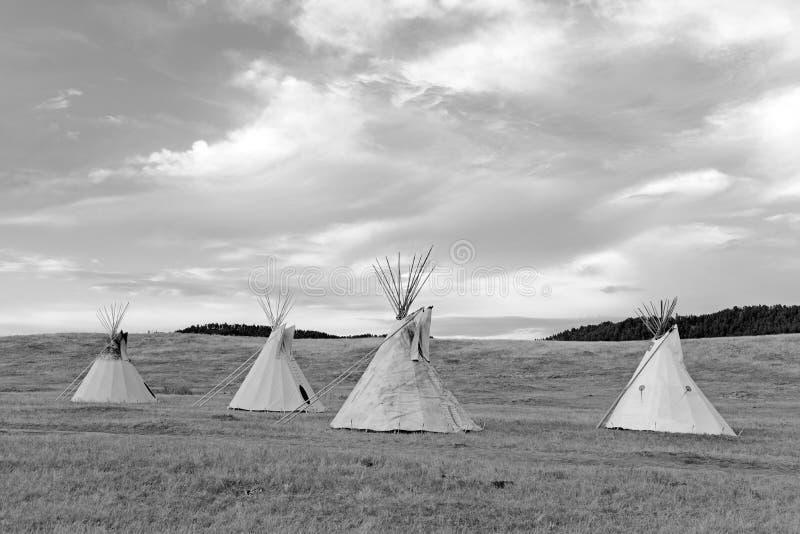 Tipi (tipi) zoals gebruikt door Grote Vlaktes Inheemse Amerikanen stock foto