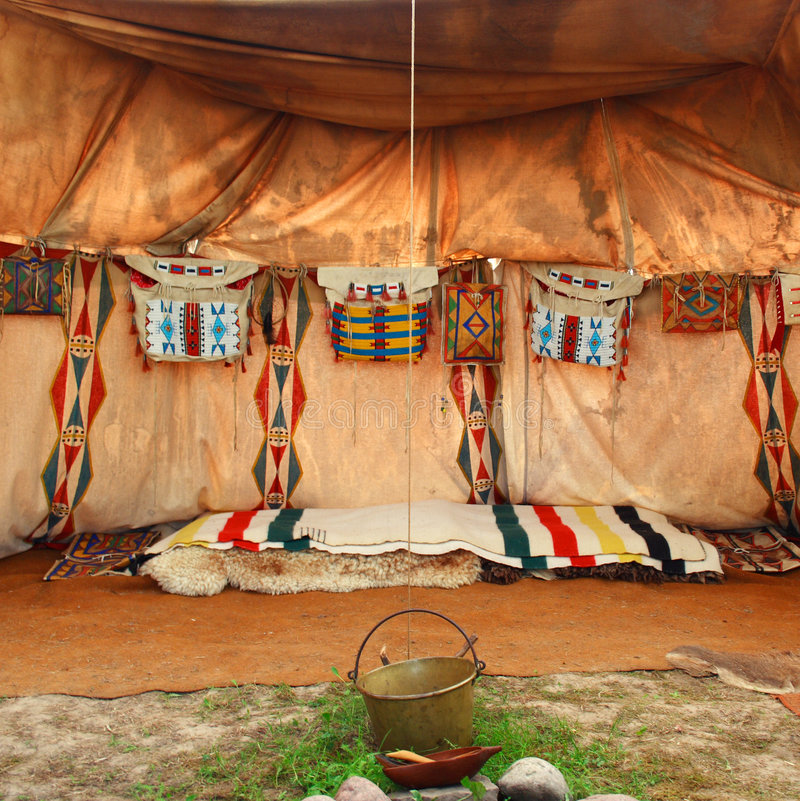 Tipi/wigwam. Interior of the Indian tent stock photo