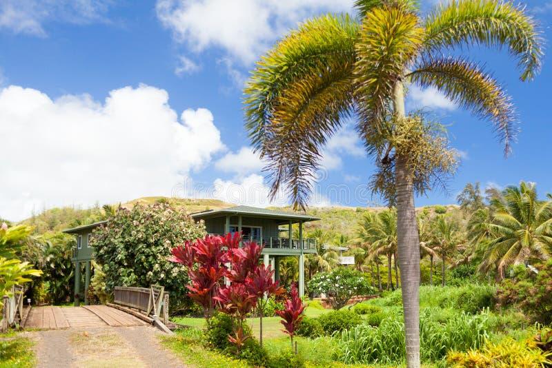 Tipical房子在kawaii夏威夷海岛 库存照片