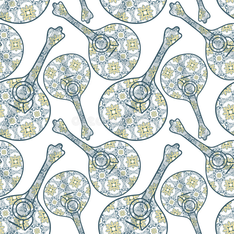 Tipical portugisisk fadogitarr och azulejotegelplattabakgrund Vec royaltyfri illustrationer
