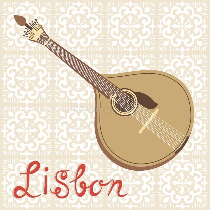 Tipical portuguese fado guitar over azulejo tiles stock illustration