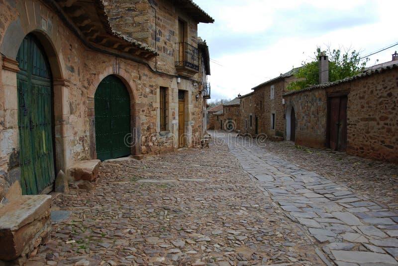 Tipical Straße hergestellt vom Stein in León. Spanien. stockfoto