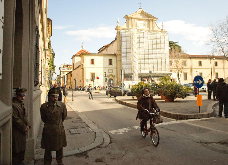 Tipical streetlife scene in Florence in Italy stock photos