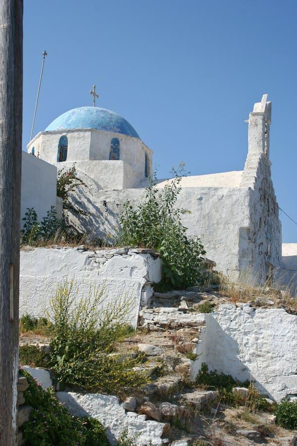 Tipical weinig kerk op het Griekse Eiland Paros stock fotografie