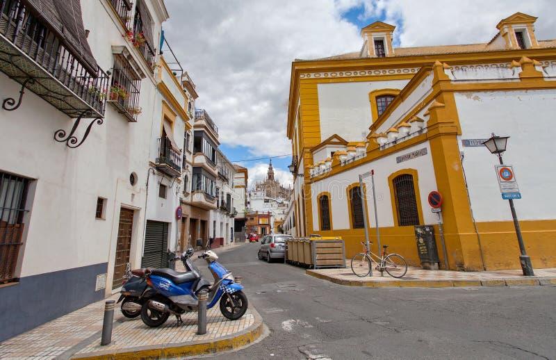 Tipicalstraat van Sevilla, Andalucia, Spanje stock afbeelding