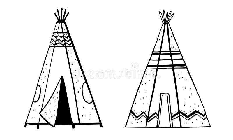 Tipies tradicionais dos indianos do nativo americano Duas tendas Ilustração tirada mão do esboço da garatuja do esboço do vetor ilustração do vetor