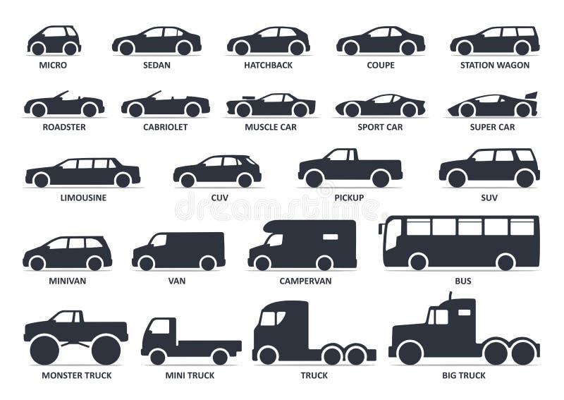 Tipo ícones do carro ajustados Automóvel modelo Ilustração preta do vetor ilustração stock