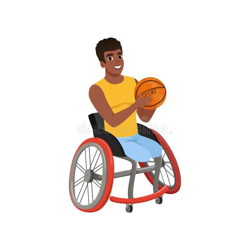 Tipo afroamericano senza gambe che si siedono in sedia a rotelle e che tengono palla Giocatore di pallacanestro con le inabilità  royalty illustrazione gratis
