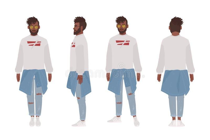 Tipo afroamericano vestito in abbigliamento casual Giovane alla moda, sguardo di stile della via Personaggio dei cartoni animati  royalty illustrazione gratis
