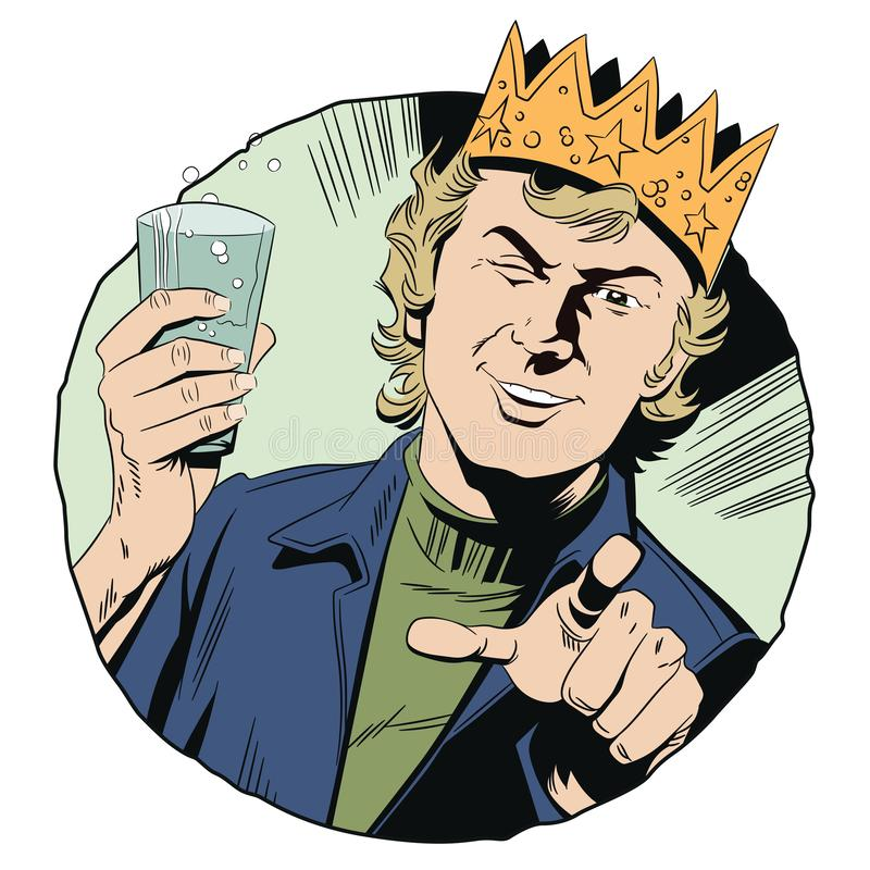 Tipo allegro in corona con vetro Uomo che indica la sua barretta illustrazione vettoriale