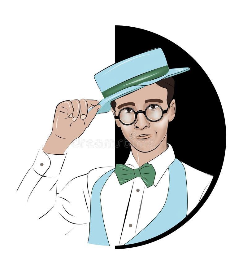 Tipo bello alla moda che dura in cravatta a farfalla, camicia bianca che tocca il suo cappello Nel cerchio isolato su fondo bianc fotografie stock libere da diritti