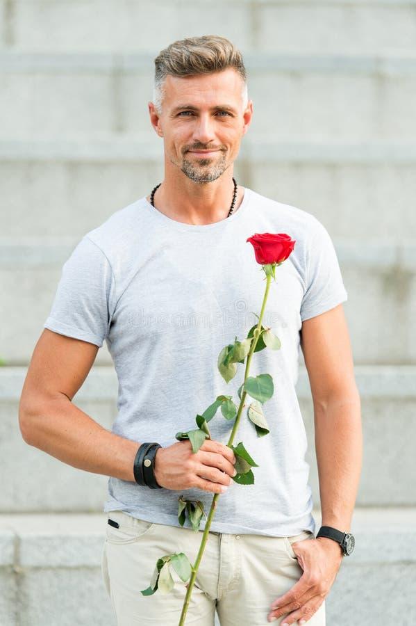 Tipo bello con la data romantica del fiore rosa Giorno ed anniversario di biglietti di S. Valentino Fiorisce la consegna Servizi  fotografia stock