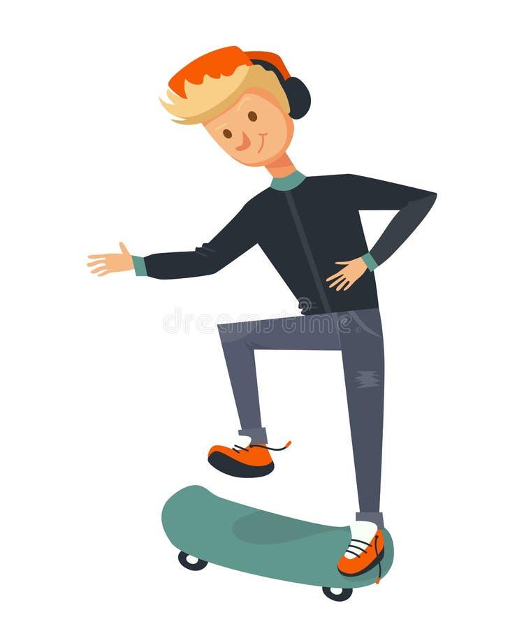 Tipo biondo isolato che pattina e che prova a lanciare un pattino illustrazione piana del pattinatore di vettore di un uomo che p illustrazione di stock
