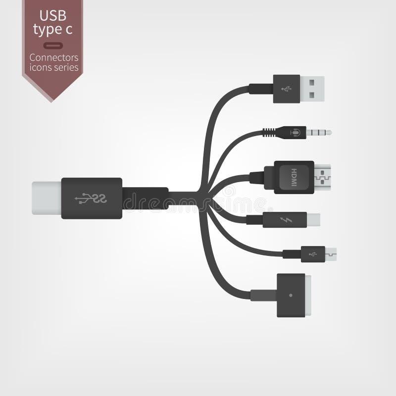Tipo-c todo de USB em um ilustração stock