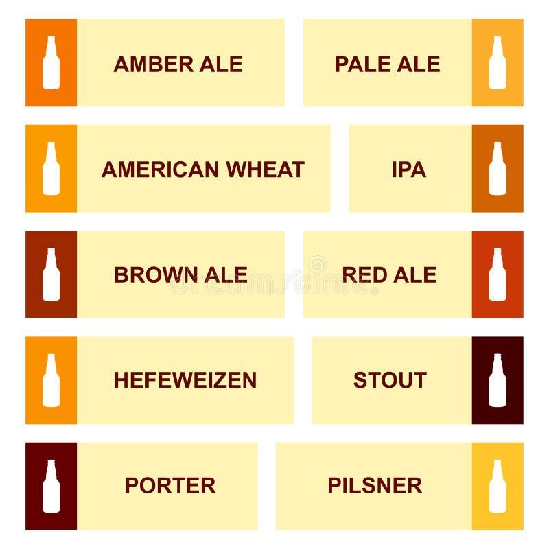 Tipo carta infographic del vintage del arte de la botella de cerveza stock de ilustración