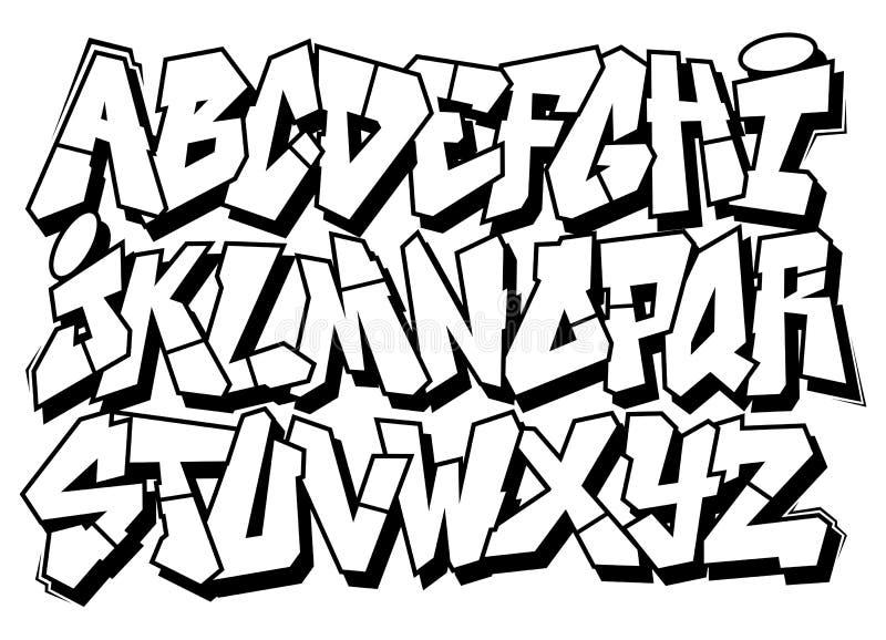 Tipo clássico alfabeto da fonte dos grafittis da arte da rua ilustração stock