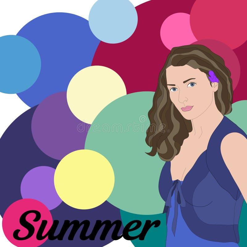 Tipo común del verano del vector de aspecto femenino Cara de la mujer joven stock de ilustración