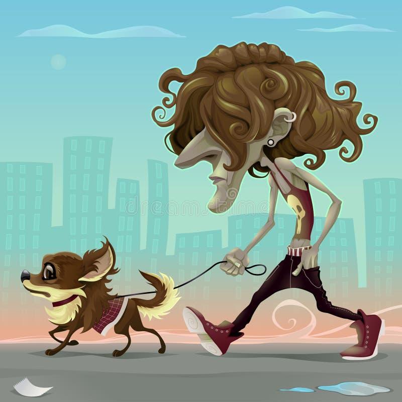 Tipo con il cane che cammina sulla via royalty illustrazione gratis