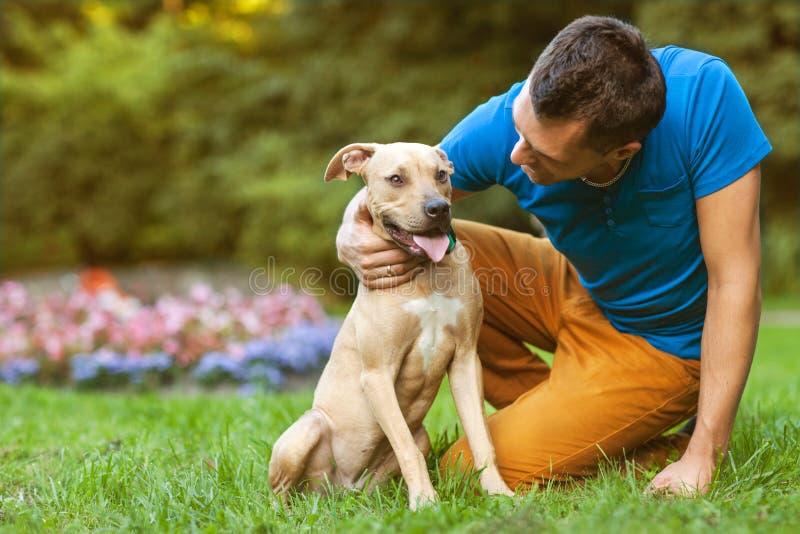 Tipo con il suo cane che abbraccia nel parco fotografie stock libere da diritti