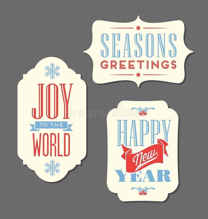 Tipo d'annata elementi delle etichette di festa di Natale di progettazione royalty illustrazione gratis