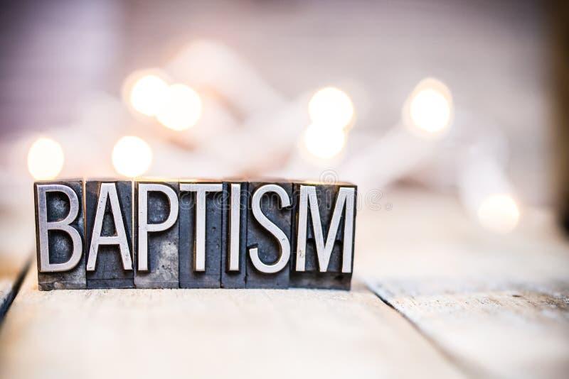 Tipo d'annata tema dello scritto tipografico di concetto di battesimo fotografia stock