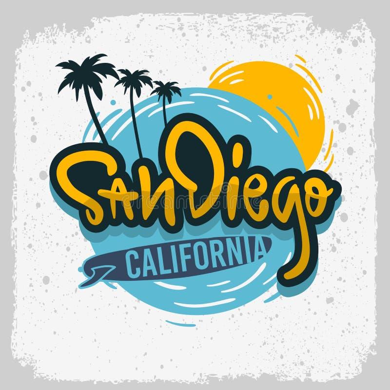 Tipo d'iscrizione disegnato a mano Logo Sign Label di San Diego California Surfing Surf Design per gli annunci maglietta o baston illustrazione vettoriale