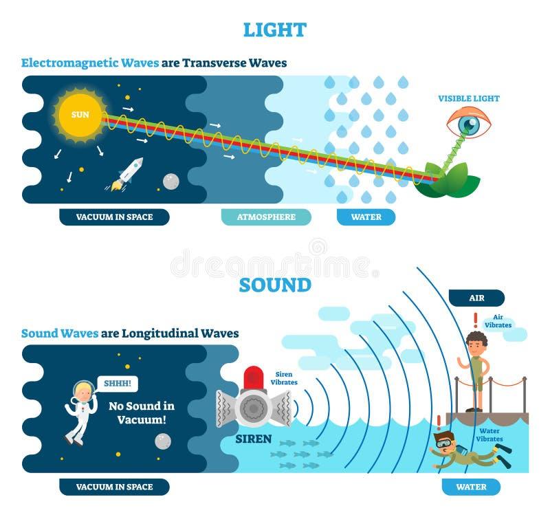 Tipo da onda longitudinal e transversal, diagrama científico da ilustração do vetor Princípio da percepção sônico e visual ilustração do vetor