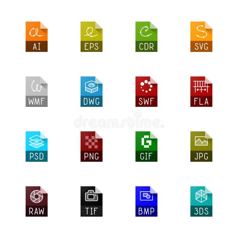 Tipo de arquivo ícones - gráficos ilustração do vetor