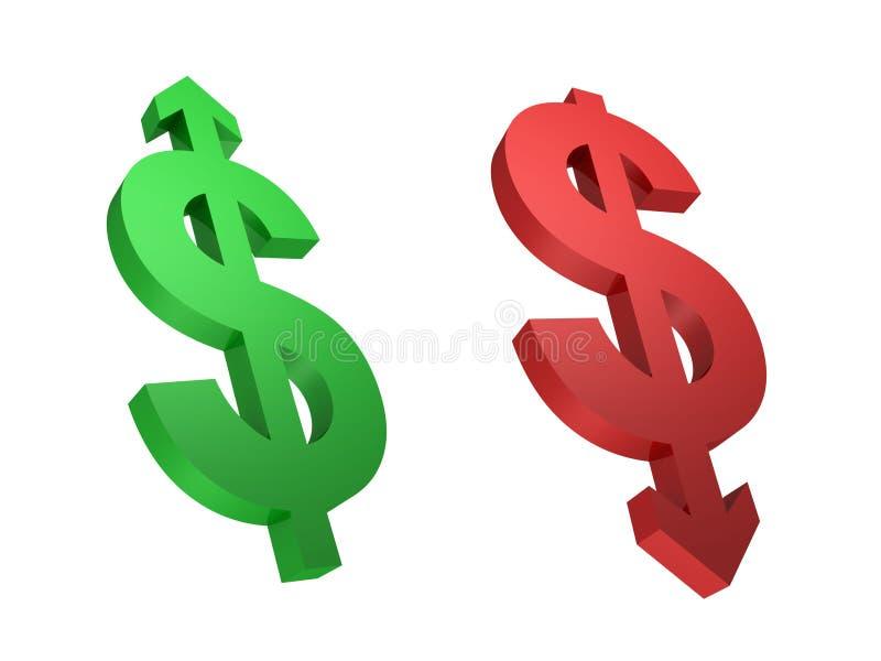 Tipo de cambio. Crecimiento del dólar. Dólar que cae. stock de ilustración