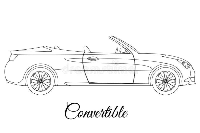 Tipo de corpo convertível esboço do carro ilustração stock