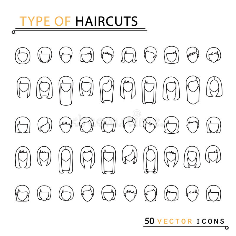 Tipo de cortes de cabelo ilustração royalty free