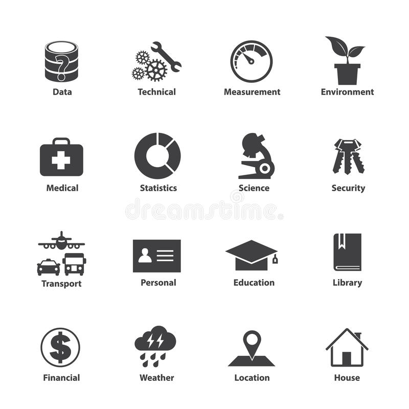 Tipo de dados grupo do ícone, tipos diferentes dos dados ilustração royalty free