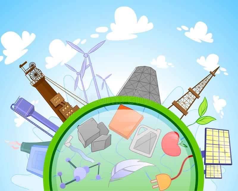 Tipo de energia renovável e não renovável ilustração stock