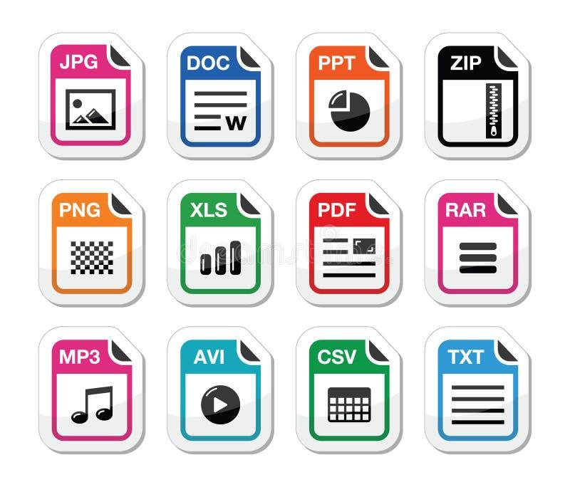 Tipo de fichero iconos como conjunto de escrituras de la etiqueta - cierre relámpago, pdf, jpg, doc. stock de ilustración