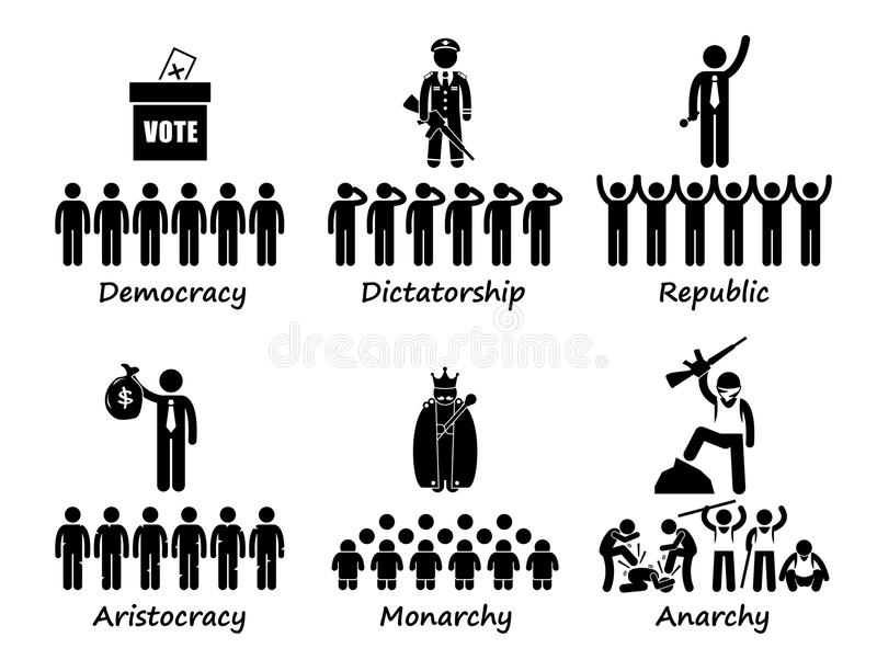 Tipo de gobierno en los iconos de Cliparts del mundo stock de ilustración
