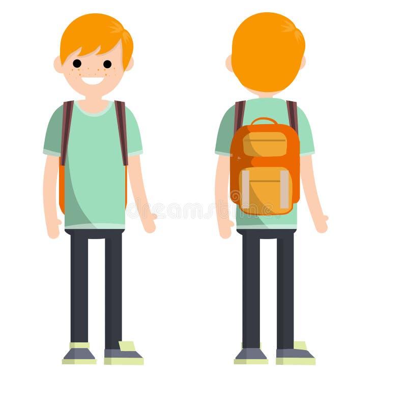 Tipo de individuo estudiante-joven del rojo-pelo con dos lados ilustración del vector