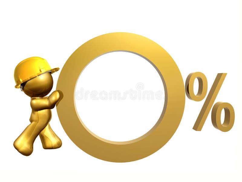 Tipo de interés cero del por ciento ilustración del vector
