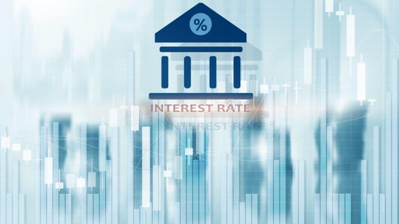 Tipo de interés en fondo abstracto de las finanzas Finanzas, actividades bancarias capitales y concepto de la inversi?n stock de ilustración