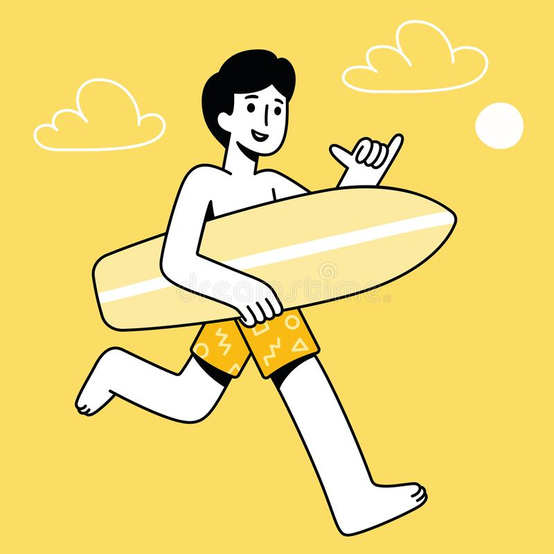 Tipo de la persona que practica surf de la historieta stock de ilustración