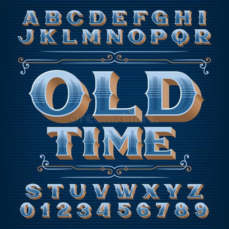 Tipo de letra do alfabeto antigo. Números e letras de safra 3D ornate ilustração royalty free