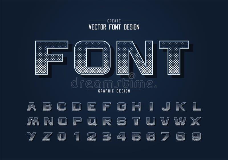Tipo de letra hexágono de meio tom e vetor alfabético em negrito, letra de tipo e número de desenho digital ilustração stock
