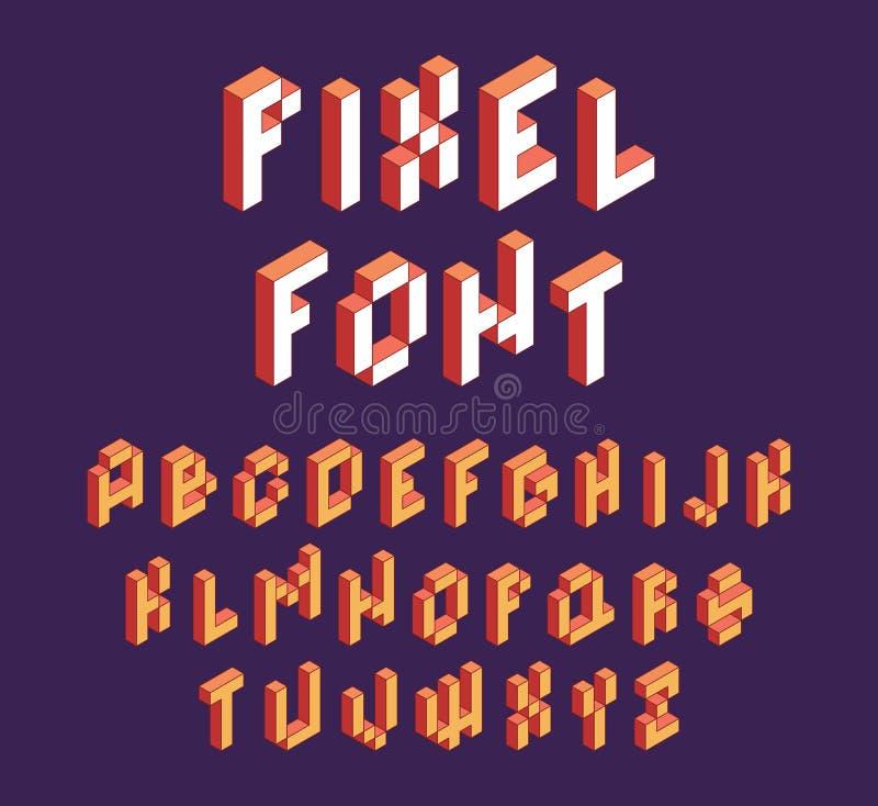 Tipo de letra Pixel Bloquear retroativamente o jogo alfabético no estilo retrô 90s letras cúbicas vetorial fonte isométrica ilustração do vetor