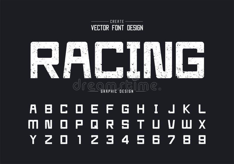 Tipo de letra de textura e vetor alfabético, letra de tipo quadrada grosseira e desenho numérico ilustração stock