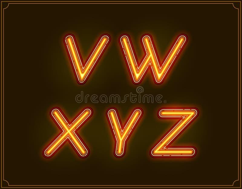 Tipo de néon alfabeto da fonte itálico Incandescência no vetor ilustração royalty free