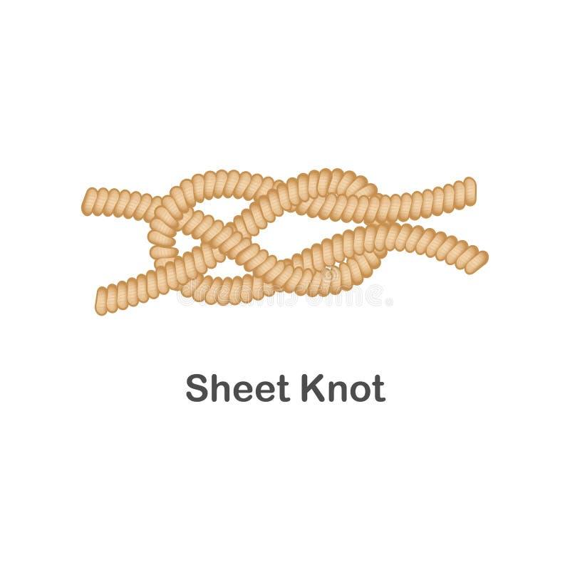 Tipo de nudo náutico o marino de la hoja del nodo para la cuerda con un lazo libre illustration